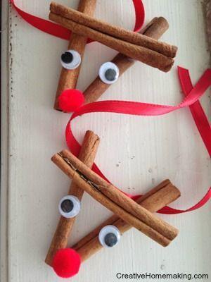 这些肉桂棒驯鹿装饰品很容易制作并作为礼物送给假期。