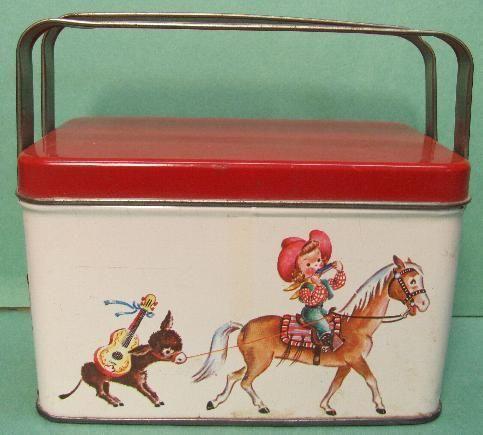 VINTAGE 1950'的TIN LITHOGRAPH午餐盒泡泡糖口袋COWGIRL儿童西餐