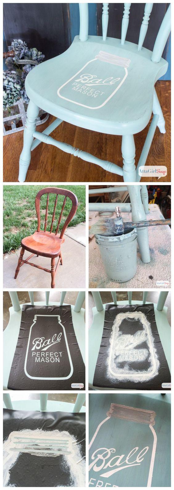 如果你喜欢梅森罐子和彩绘家具,你会喜欢这个教程,如何使用牛奶涂料和定制模板来绘制自己的梅森罐子椅子。