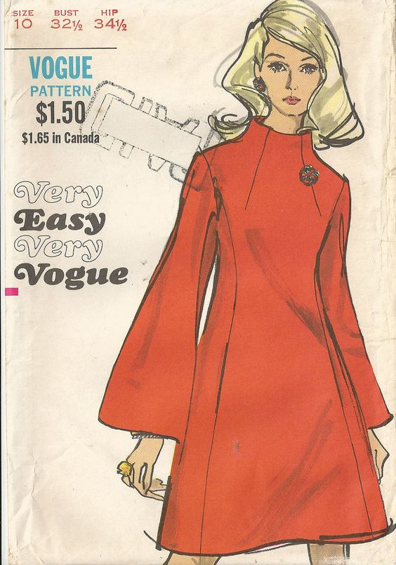 Funnel neck dress - Vogue vintage sewing pattern - Size 10