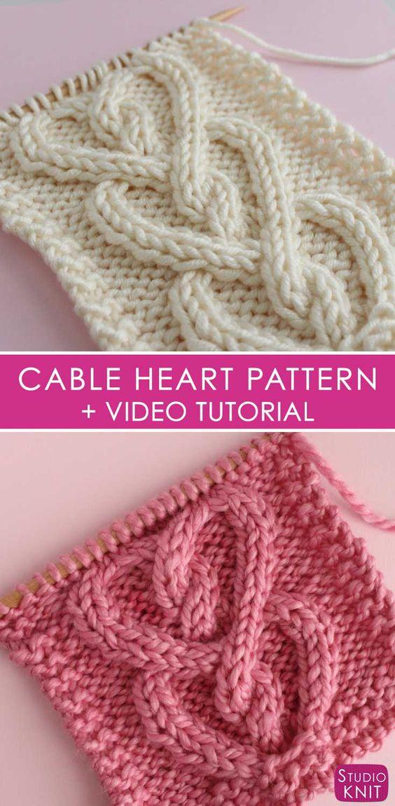 如何编织电缆心脏|免费编织图案+视频教程#StudioKnit #knittingpattern #cableknitting