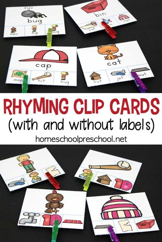 下载一套免费的可打印Rhyming Clip Cards。