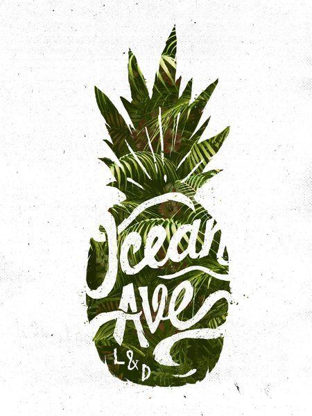 海洋大道刻字和设计菠萝标志艺术打印海洋大道