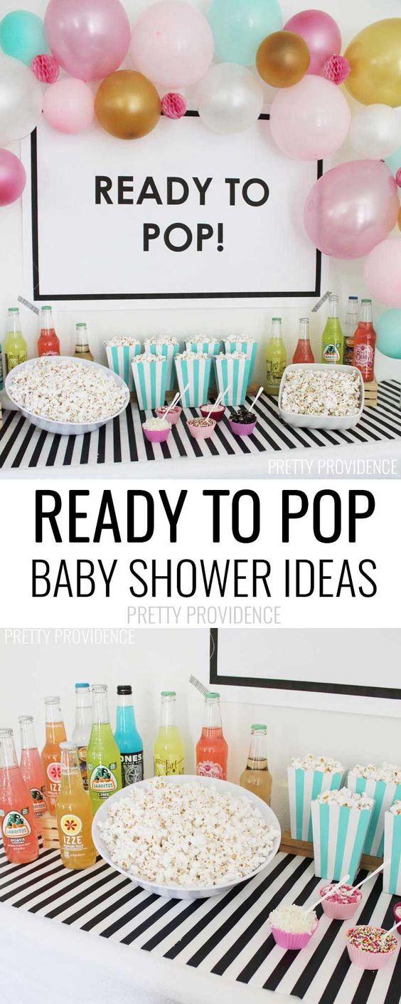 准备流行婴儿沐浴想法 - 爆米花打顶酒吧,苏打水和气球以及免费打印海报!