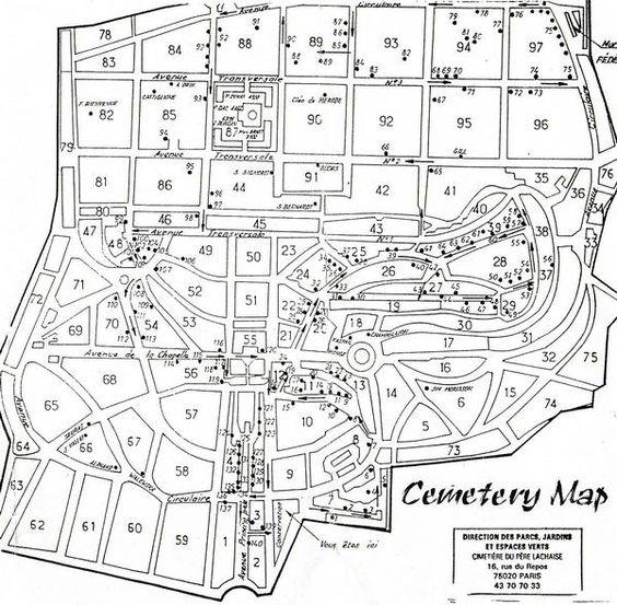 Pere Lachaise公墓地图