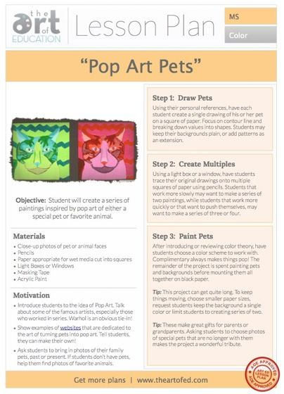 级别:中学艺术教育课程计划艺术元素:线条,价值,色彩艺术技巧:绘画,绘画,色彩理论艺术史:波普艺术*在我们的课程页面上获得更多免费课程