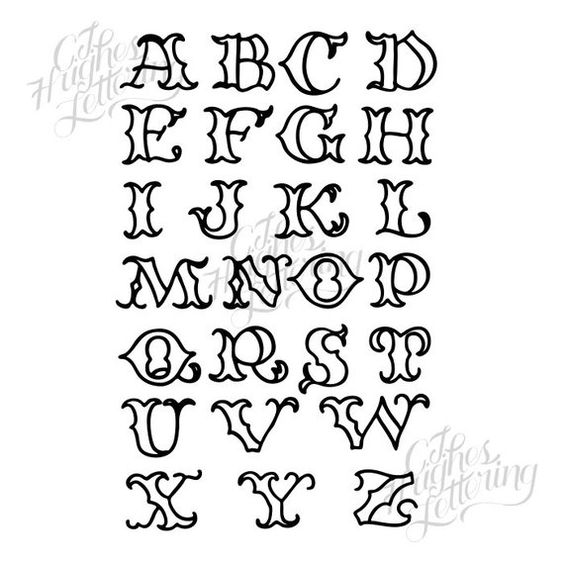 Hand drawn vector flash sheet #002 - Tattoo Alphabets - Bonus hand drawn imagery - vintage skull, ro