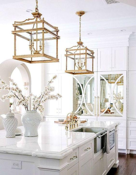 91美丽的白色厨柜设计理念