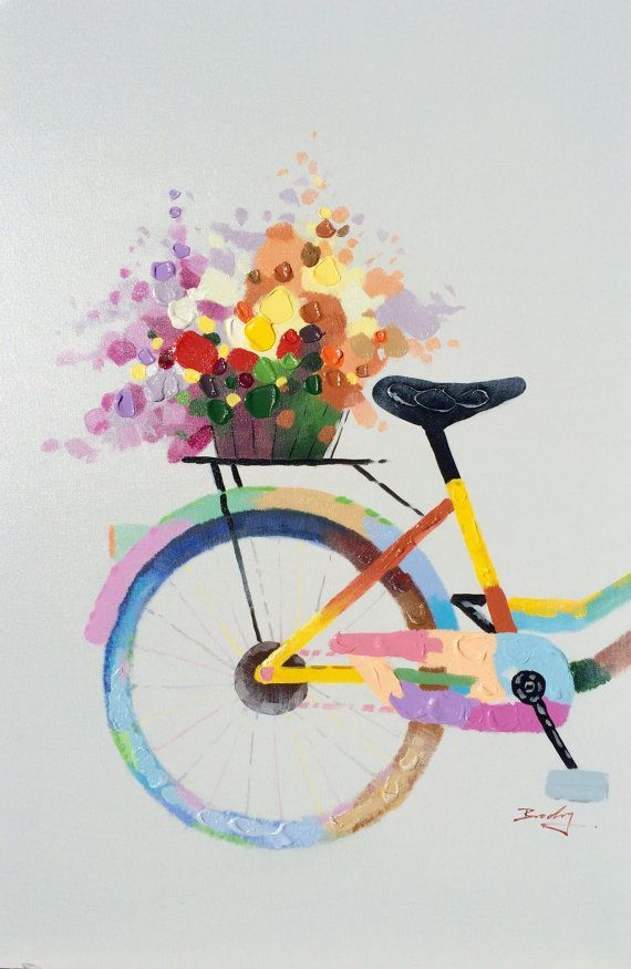 Went To Market. Adorable and colorful hand painted oil on canvas. This patchy and bright bicycle looks like it just left the local farmers market. Painted using a mixture of brush and palette knife work. The top layers are spread on using a spatula so the paint is thick and textured. Truly a sweet painting. #artpainting