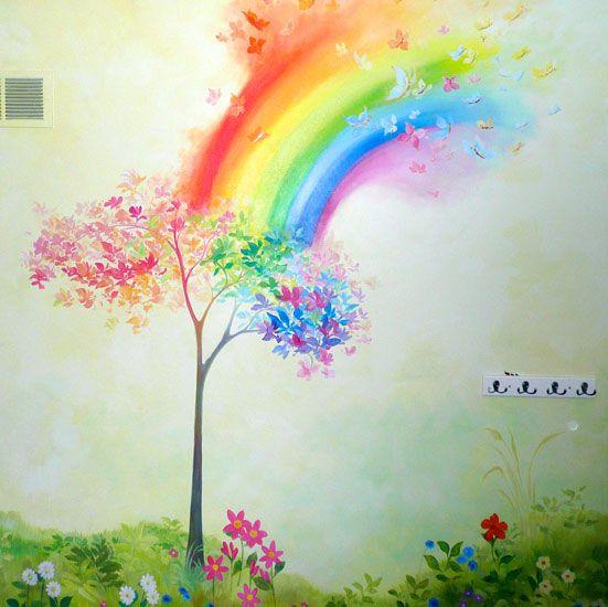 9个美丽的孩子墙壁壁画想法