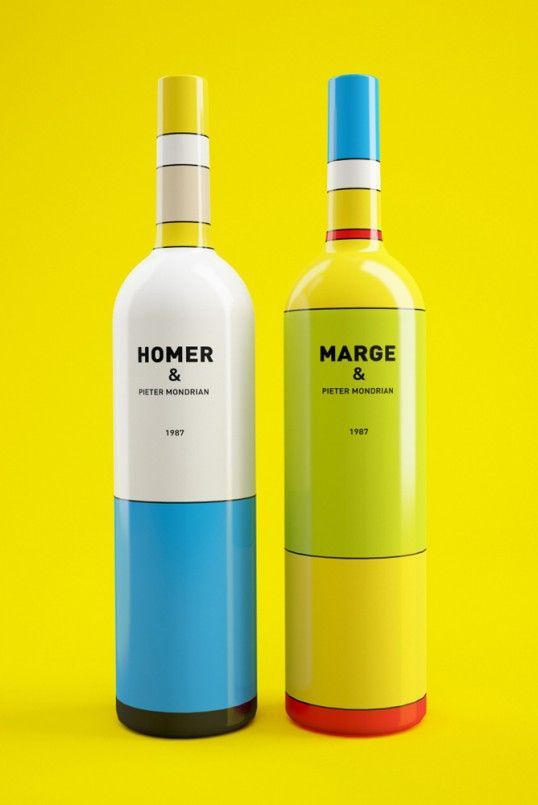 « Wine, or maybe not? » Marge and Homer Simpson meet Pieter Mondrian - by Constantin Bolimond and Dmitry Patsukevich PD