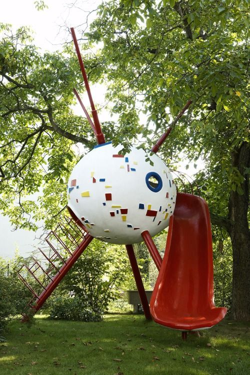 Zdeněk Němeček. Sputnik play sculpture. 1959  Němeček's interpretation of Sputnik's aluminum sphere as an elegant concrete play sculpture, encased in multicolored ceramic and featuring a climbing tube and slide, was originally installed in Stromovka Park, in Prague. One of the most striking examples of abstract sculptural departures from the conventional forms.
