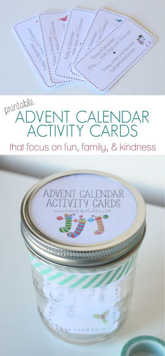 专注于趣味,家庭和善良的儿童免费打印出现日历活动卡片。