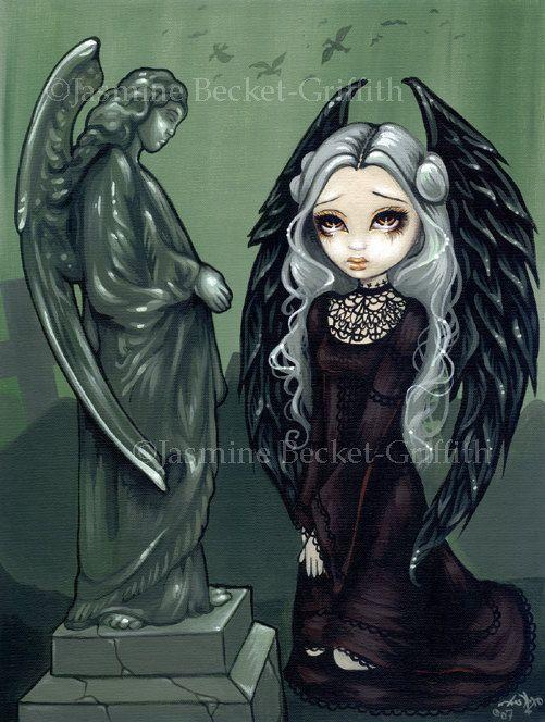 海格特天使墓地墓地墓地艺术印刷由奇怪的,29.99美元