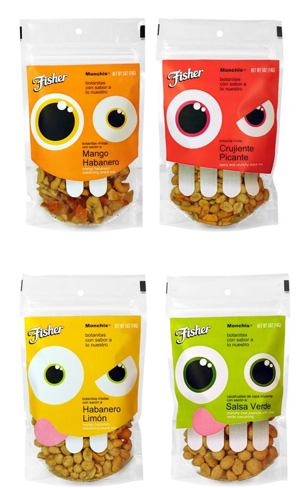 Nutty product packaging Packaging: Fisher Hispanic nuts by Uno Branding | #design #packaging
