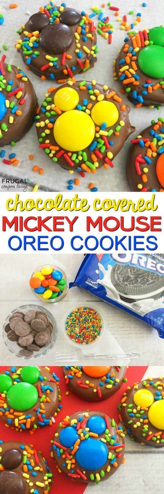 需要米老鼠食物参加派对或庆祝活动。获取这些巧克力覆盖的米奇OREO在Frugal Coupon Living上的完整教程和配方。