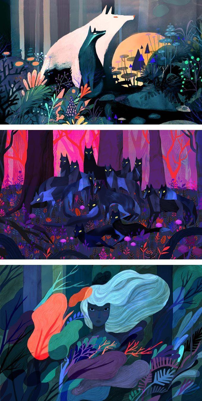 插画家Juliette Oberndorfer使用深沉丰富的色彩和复古美感来制作引人注目的故事片断。