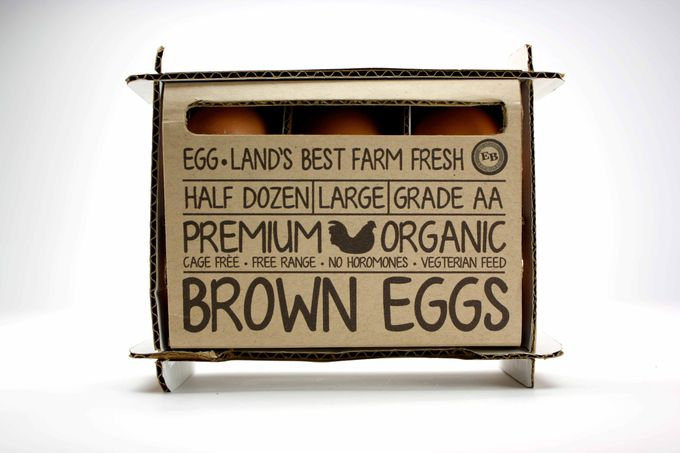 Package design for eggs. Non-traditional organic eggs packaging.