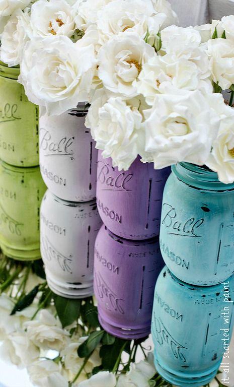 华丽的彩绘梅森罐子!