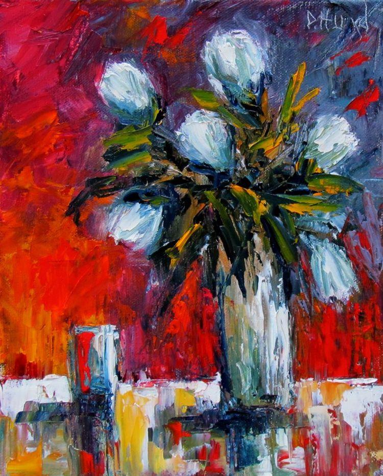 Tulips in Vase art painting impressionist still art by Debra Hurd, painting by artist Debra Hurd
