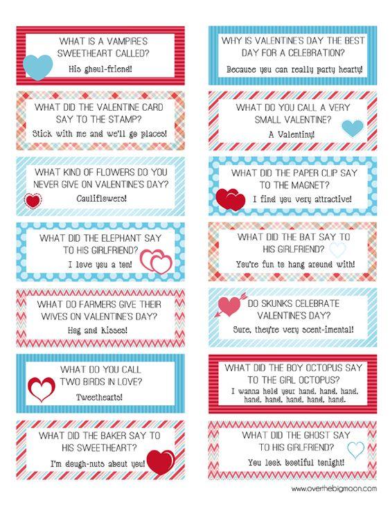 免费可打印情人节午餐盒笑话卡!