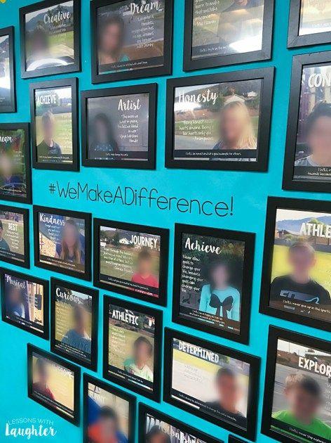 用学生选择的引语和任务创建学生照片墙是建立支持学生的积极课堂社区的好方法。