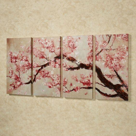 樱花树Quadtych帆布艺术集