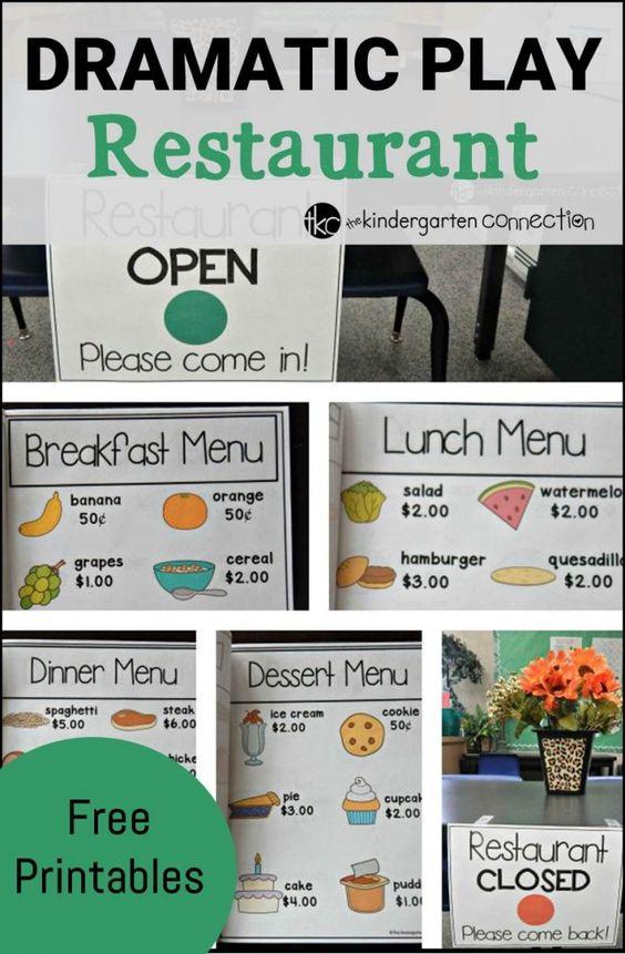 玩是学习!玩得开心阅读,做数学,并开发与这些免费的餐厅戏剧性的打印的社交互动!