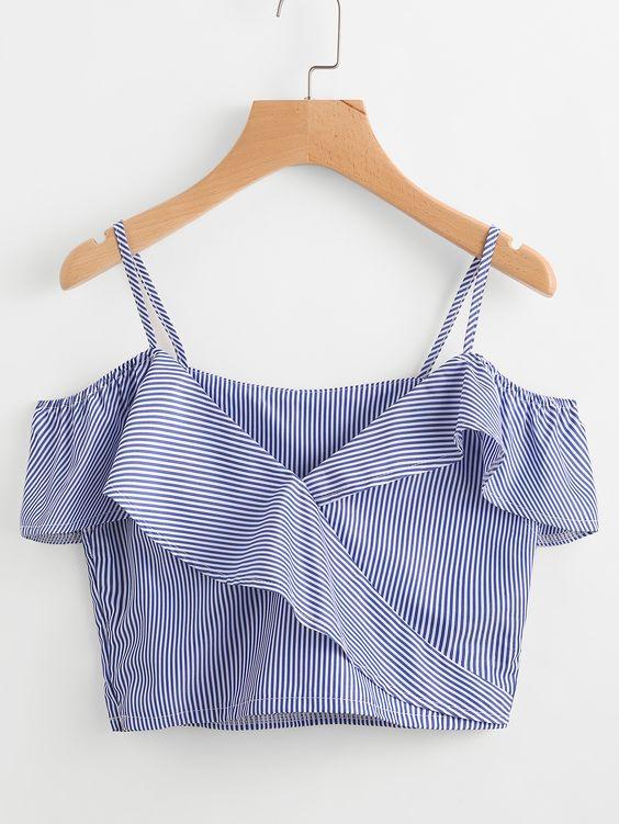 在线购买冷肩细条纹褶边修剪上衣。 SheIn现有Cold Shoulder细条纹褶边修身上衣等,以满足您的时尚需求。