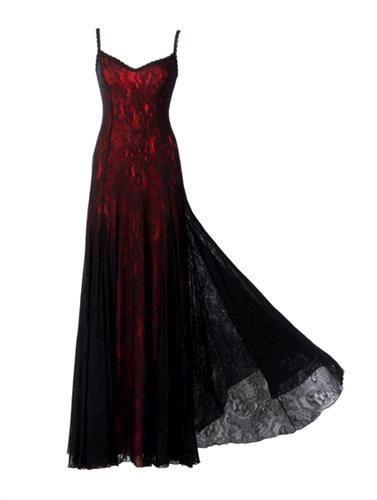 维多利亚风格Michal Negrin红色和黑色连衣裙配意大利面条带系带|易趣