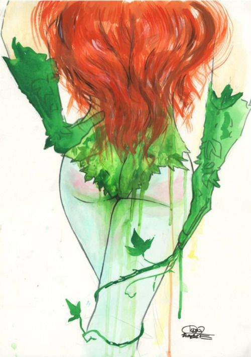 [Image: A full color illustration of DC comics character Poison Ivy. She is shown with her back to the viewer from about the mid back down.…