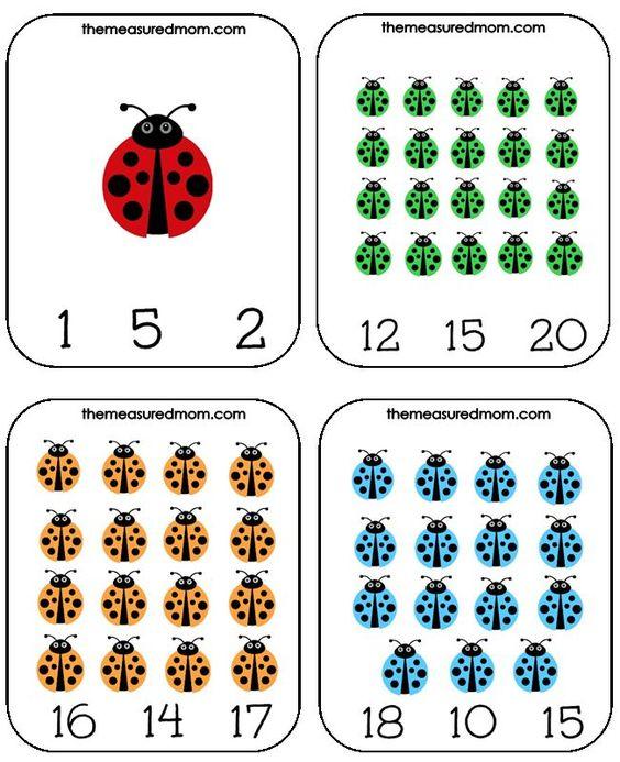 这是适合春季学龄前儿童的可打印计数活动 - 瓢虫数和剪辑卡!