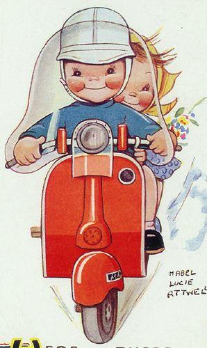 另一个Mabel Lucie Attwell插画,两个孩子骑着他们的Vespa。
