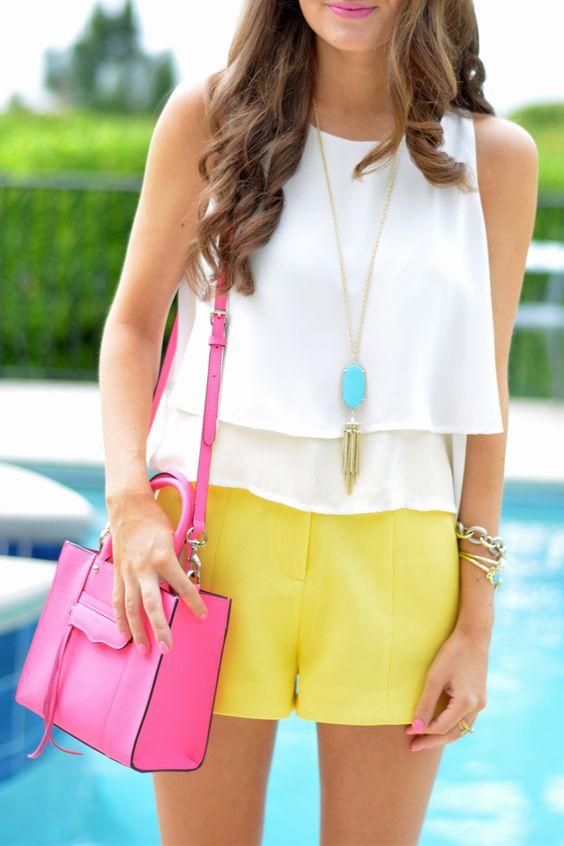 "Rebecca Minkoff迷你手提包(代码FRNFAM 30%off!选择""粉色""粉色)高腰黄色短裤// w ..."