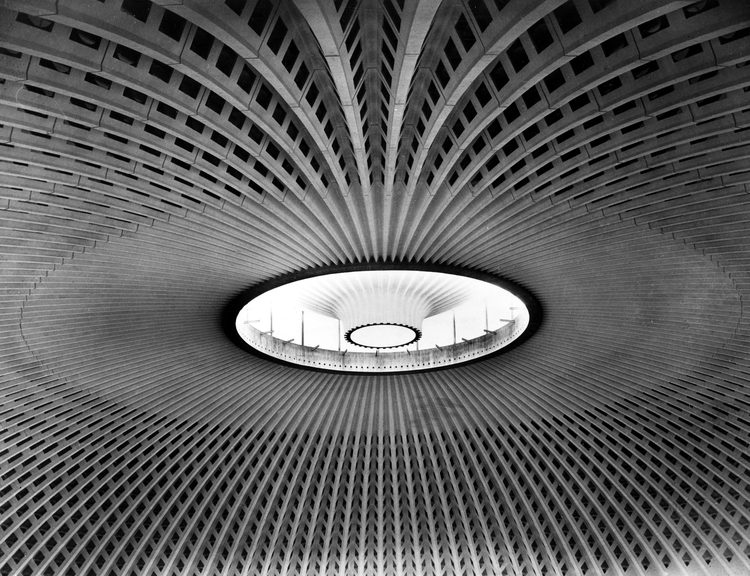 Palazzetto dello Sport, Rome - Designer: Luigi Nervi / Structure: Ribbed concrete shell dome 61m in diameter, constructed of 1620 prefabricated concrete pieces, braced by Y-shaped concrete flying buttresses.