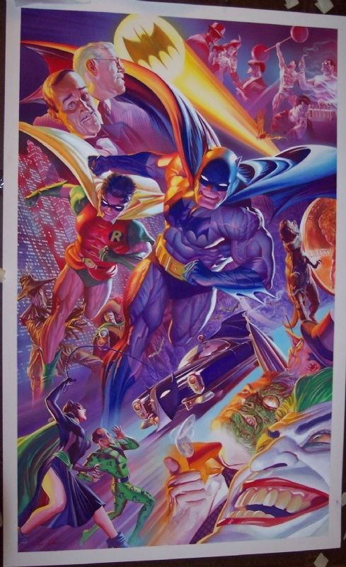 Batman's 75th Anniversary featuring Robin, Alfred, Commissioner Gordon, Catwoman, Joker, Riddler, Penguin, Two-Face, Scarecrow, Killer Moth, The Cavalier and the Batmobile. By Alex Ross