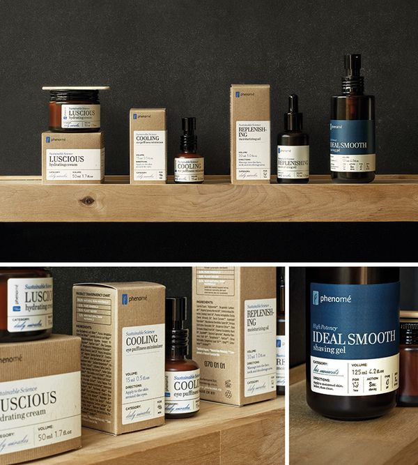 I really like the clean eco look packaging but also the way they have made small icons on the label so customers get a quick reference point. Phenome - organic skincare products on the Behance Network.
