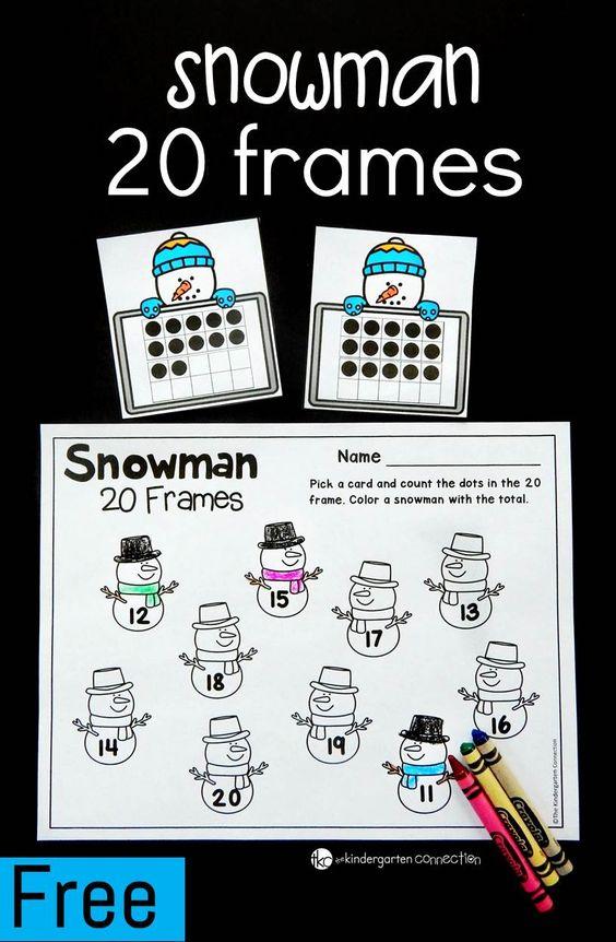 这20帧数学游戏是一个伟大的冬季数学中心的幼儿园和建立数字意义与青少年数字!