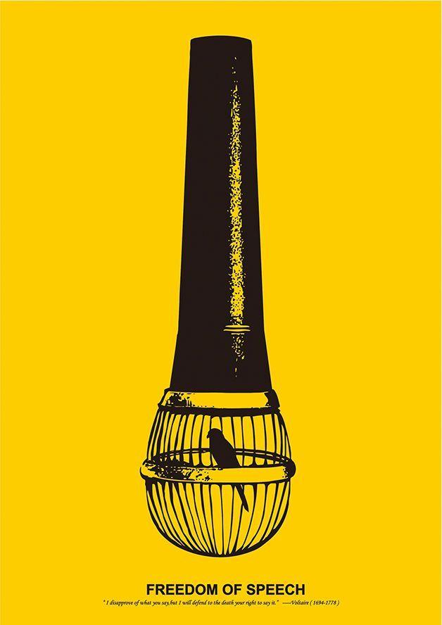 红点设计奖,2013年,海报类别,自由言论客户:舒特大学,平面设计:Pei-Ling Ou