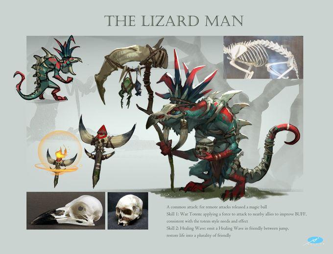 ArtStation - Design of the monster-The lizard man, Xuexiang Zhang