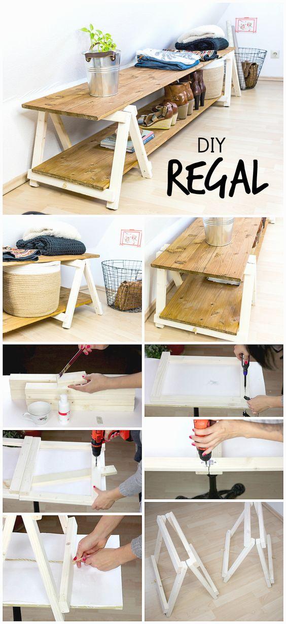 DIY架子自己建造:DIY架子的说明与自制迷你折叠凳 - 便宜和易于发送,自制货架