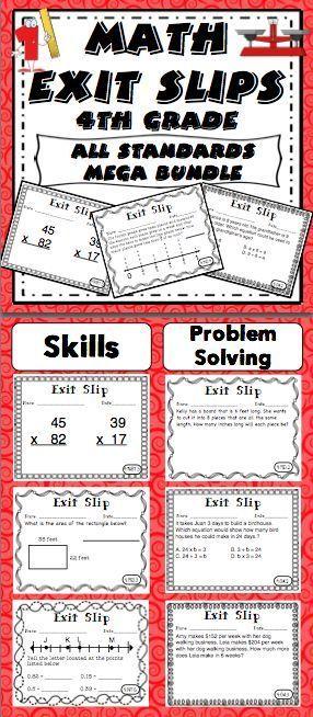 数学退出滑倒四年级通用核心 - 形成性评估从未如此简单!这个包里有5组出口单据,用于每个四年级共同核心数学标准。您还会收到一份奖金测试准备部分,并为每个标准额外提供一张纸条!