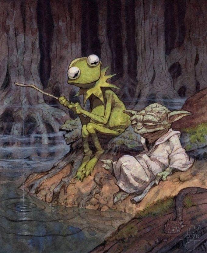 Kermit Yoda - Peter de Seve  #illustration