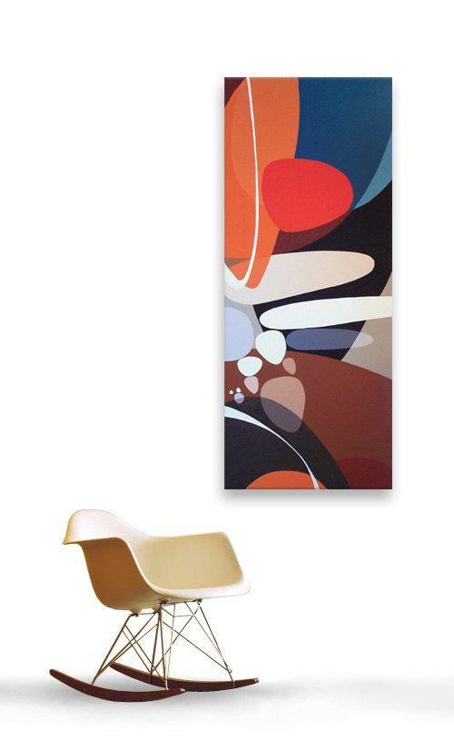 mid century modern eames era danish modern retro 60s 50s 4ft x 18in canvas painting