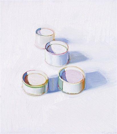 Four jars of cold cream by Wayne Thiebaud 1966