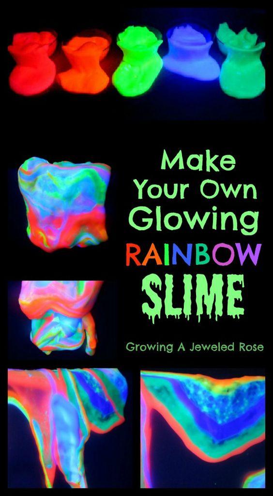 发光的彩虹粘液食谱为戏剧。这东西很有趣我们无法爱不释手! (简单的粘液玩儿童食谱!)