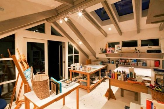 Art studio room needs lots of windows for natural light. Natural lighting makes the best paintings.