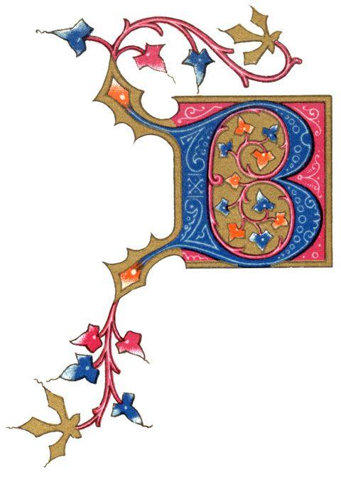 这些照明信件来自1894年出版的法国书。字母A到F在金色背景上有可爱的叶子和藤蔓卷须。