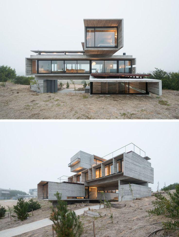 13个由混凝土制成的现代住宅外墙|三种形式的未完成的混凝土被堆叠和交错,以创造一个有角度和工业外观的家。