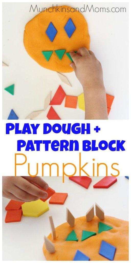 玩面团和模式块南瓜是学龄前儿童的万圣节活动!